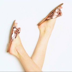 JEFFREY CAMPBELL Zocalo Rose Gold Knotted Slides